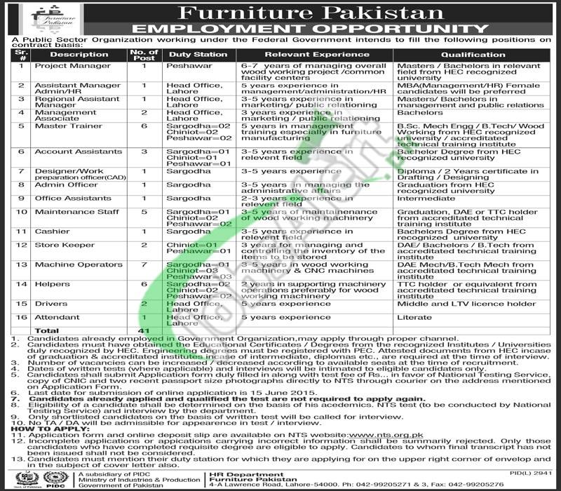 Pakistan Furniture Jobs