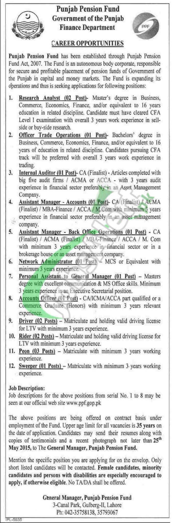 Jobs in Finance Department Punjab