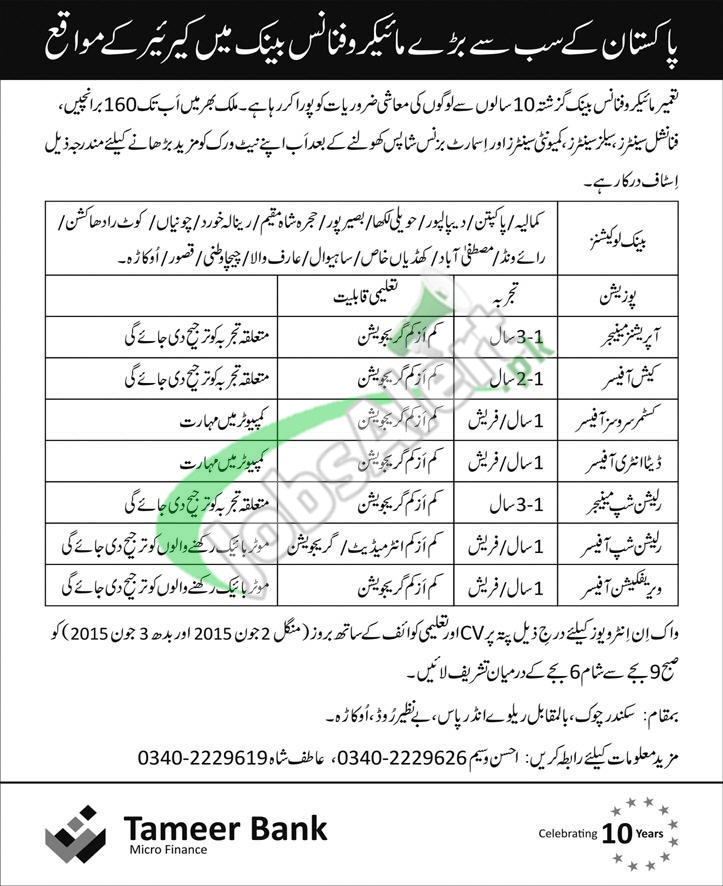 Tameer Bank Jobs