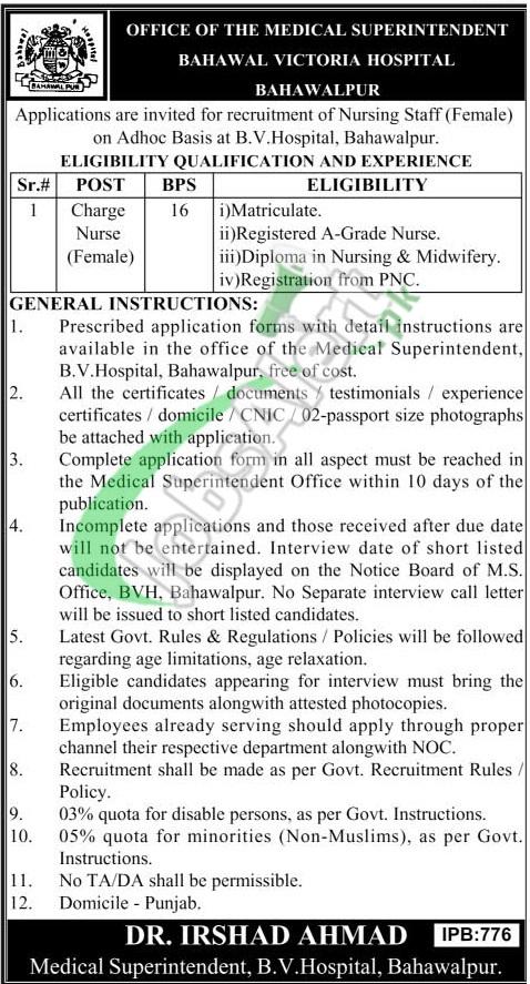 Jobs in BVH Bahawalpur