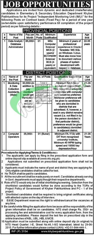 Education Department KPK Jobs