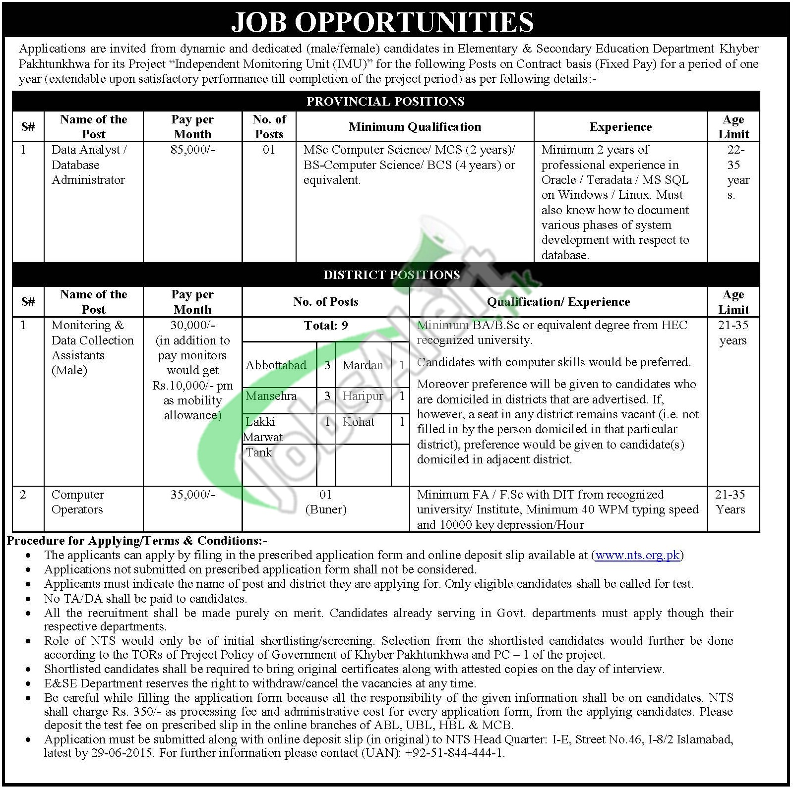 KPK Elementary & Secondary Education Jobs