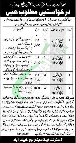 District and Session Court Abbottabad Jobs