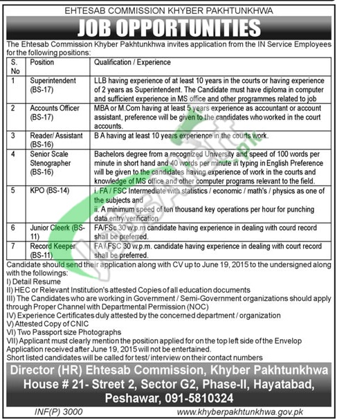 Jobs in Ehtesab Commission KPK