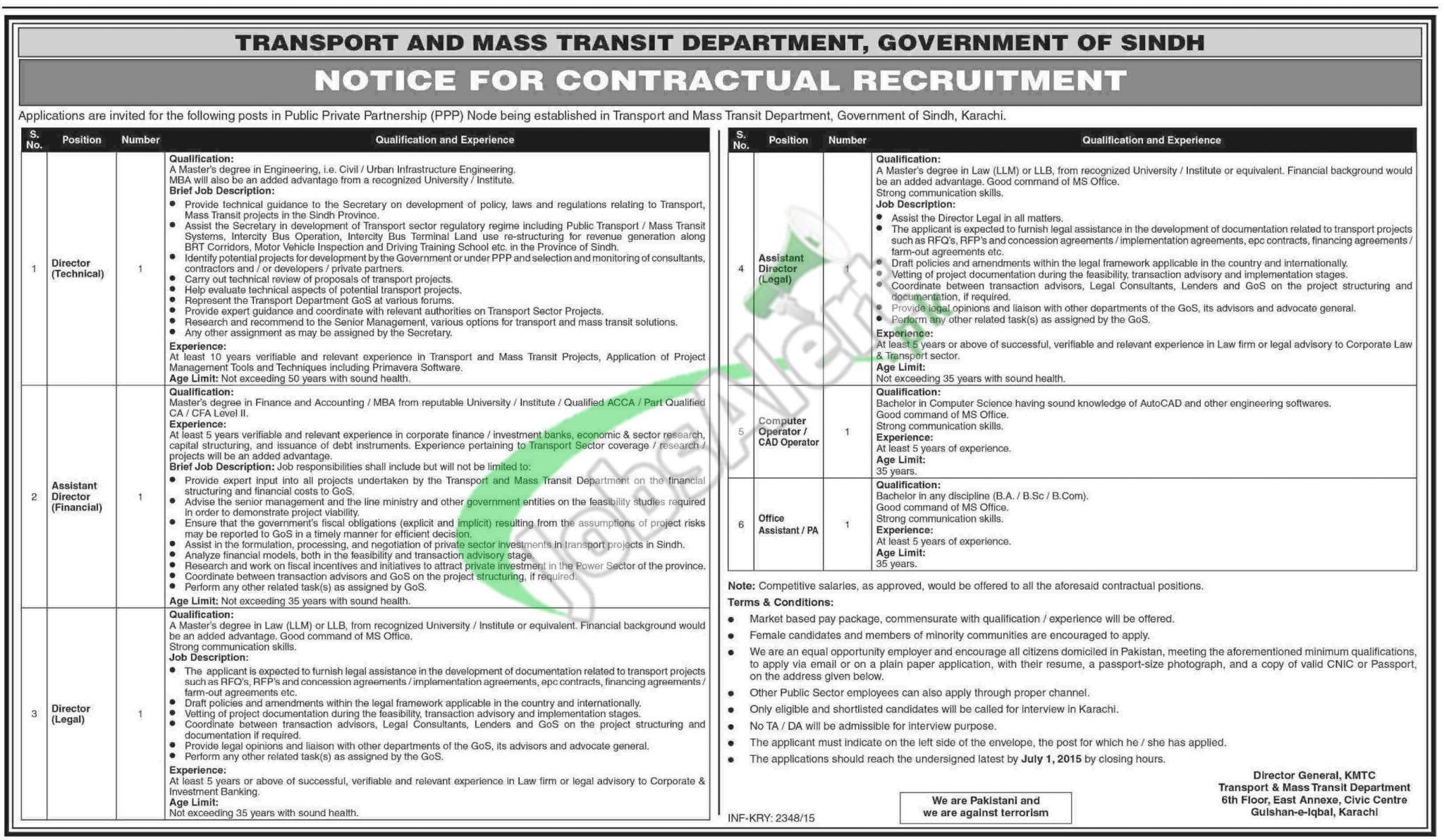 Transport & Mass Transit Department Sindh Jobs