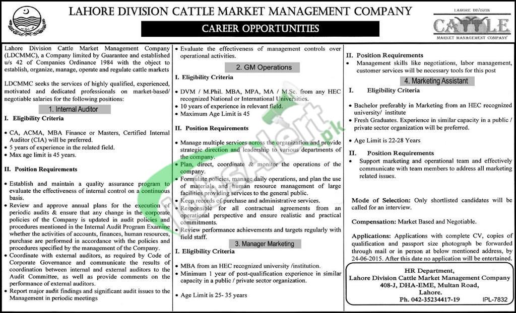 Lahore Division Cattle Market Jobs