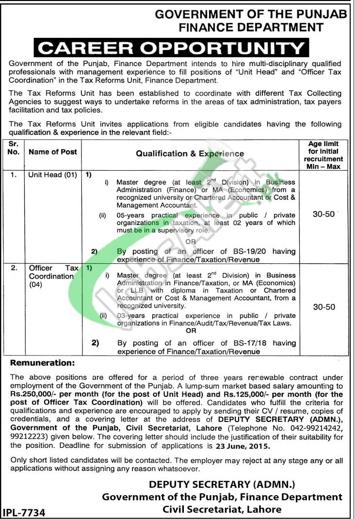Finance Department Punjab Jobs
