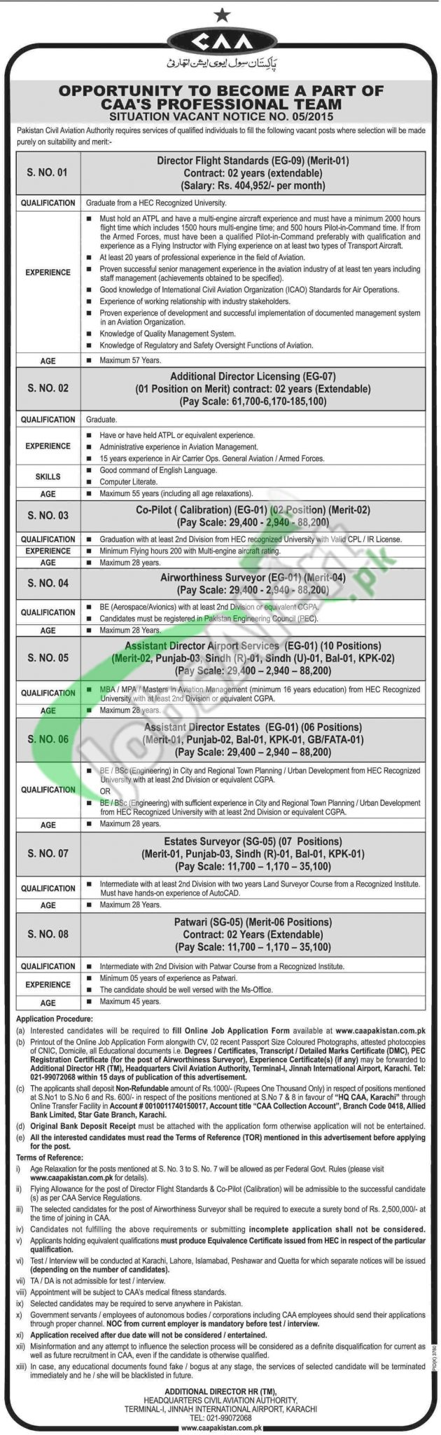 CAA Pakistan Jobs