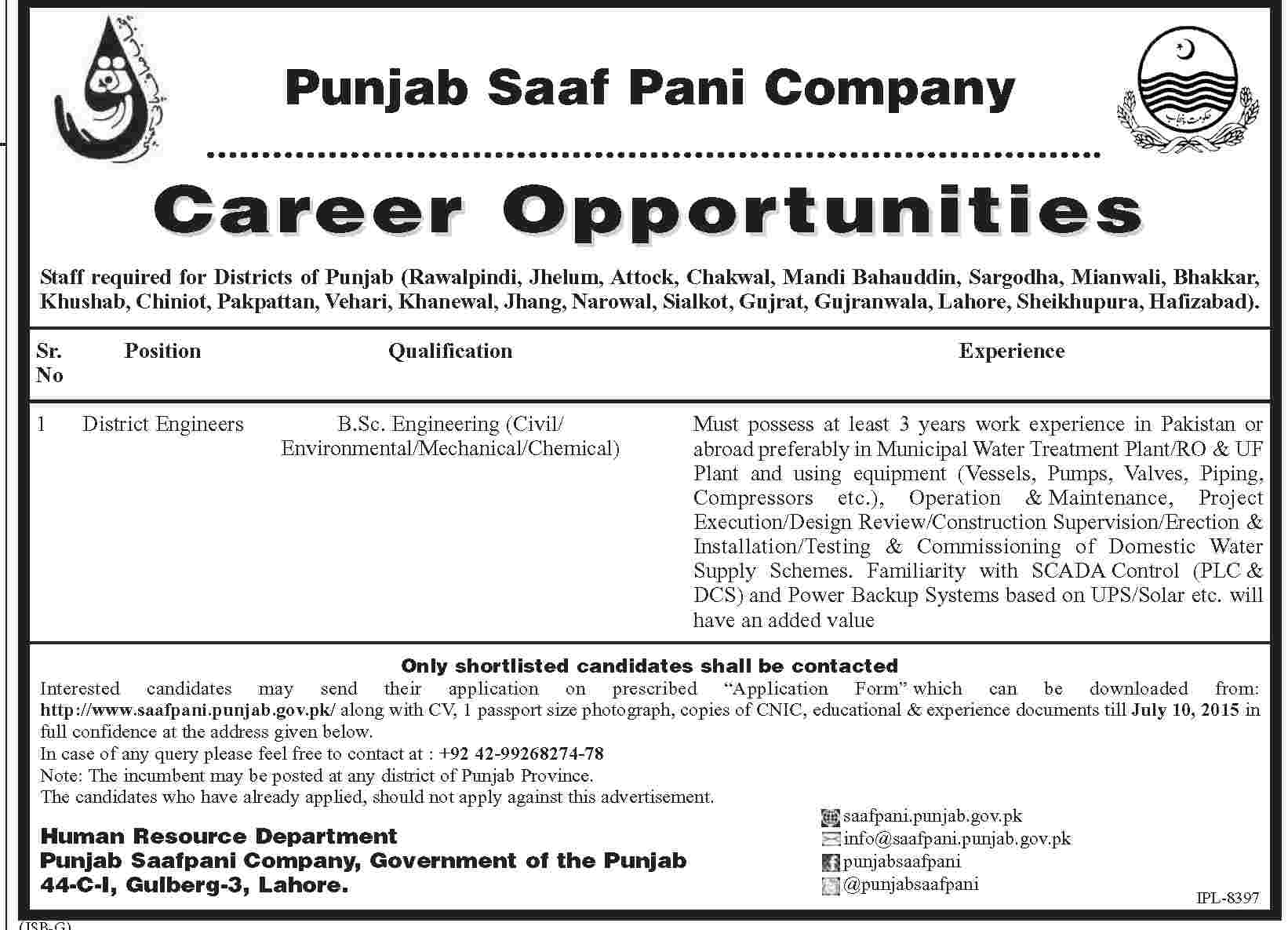 Punjab Saaf Pani Company Jobs