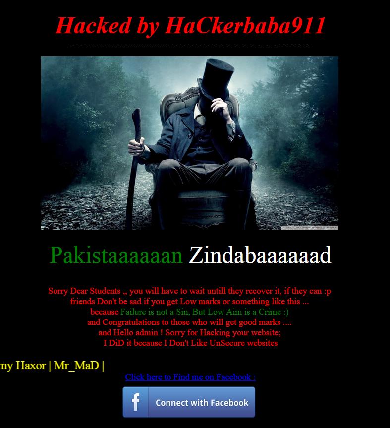 Hackers hacked Dera Ghazi (DG) Khan Board website