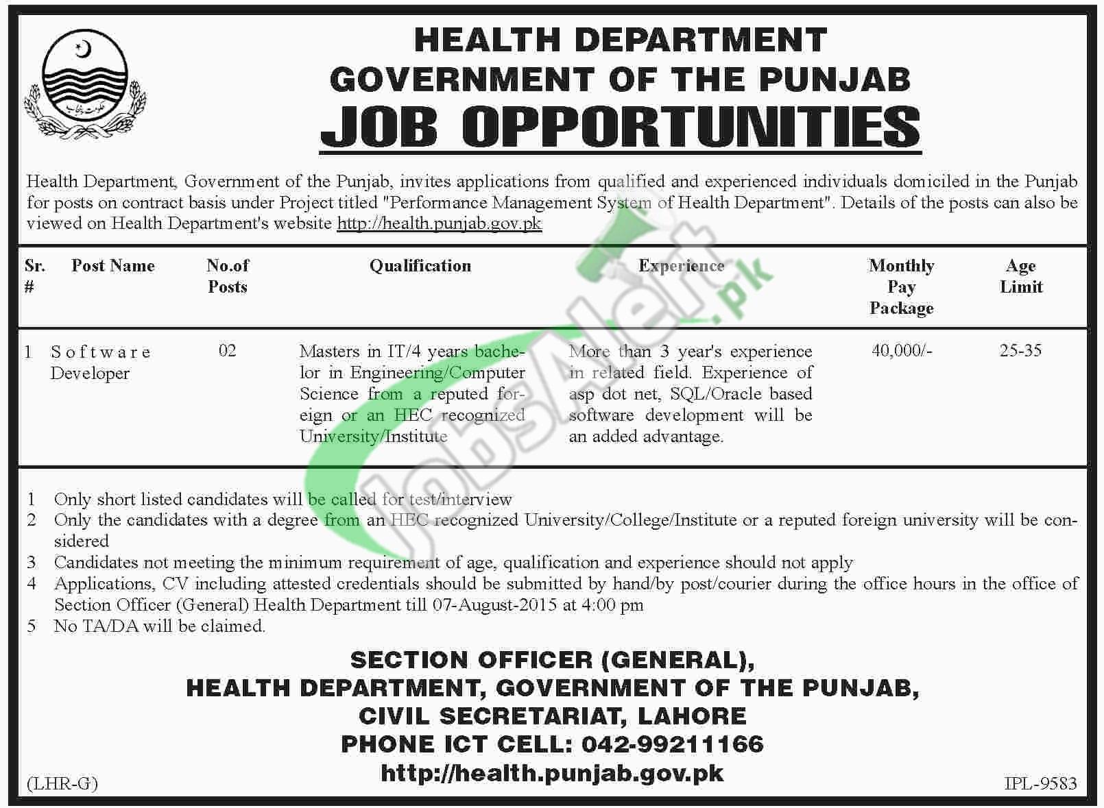 Jobs in Health Department Punjab