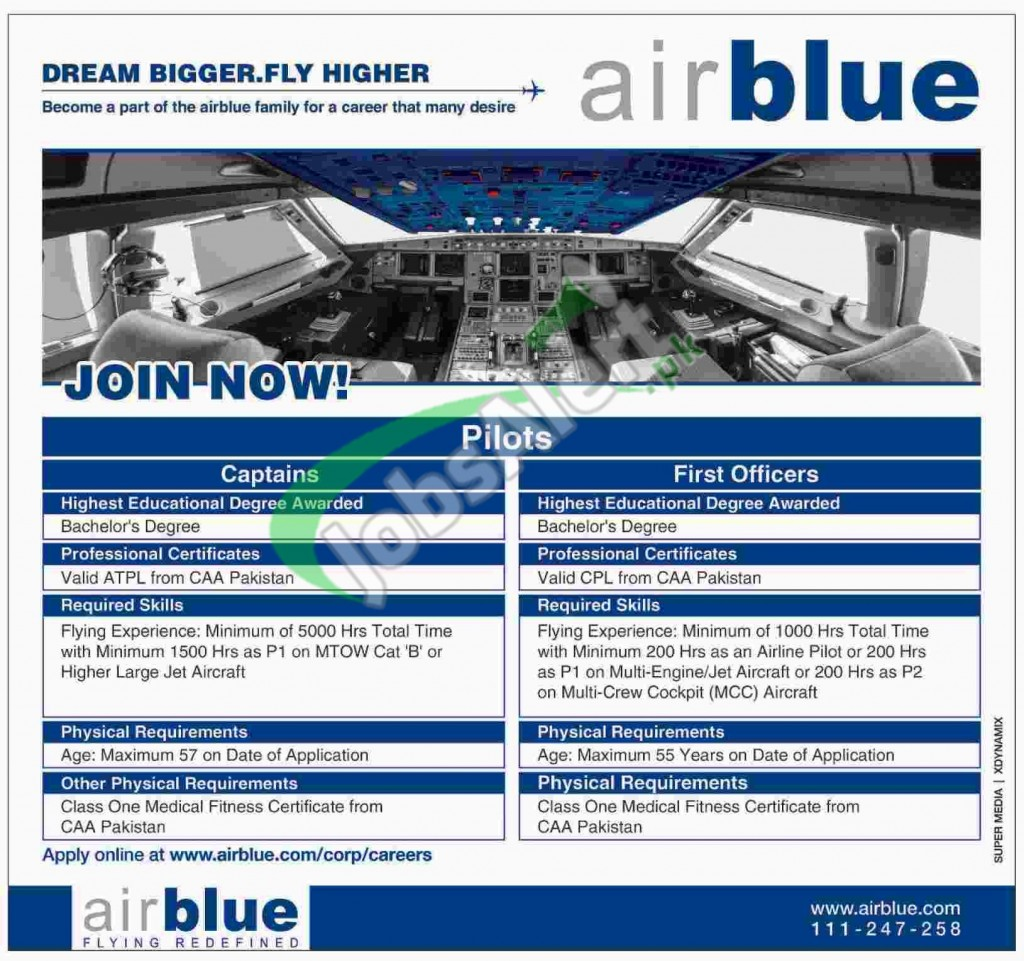 Air Blue Pilot Jobs July 2017 Eligibility Criteria Ly Online In Stan
