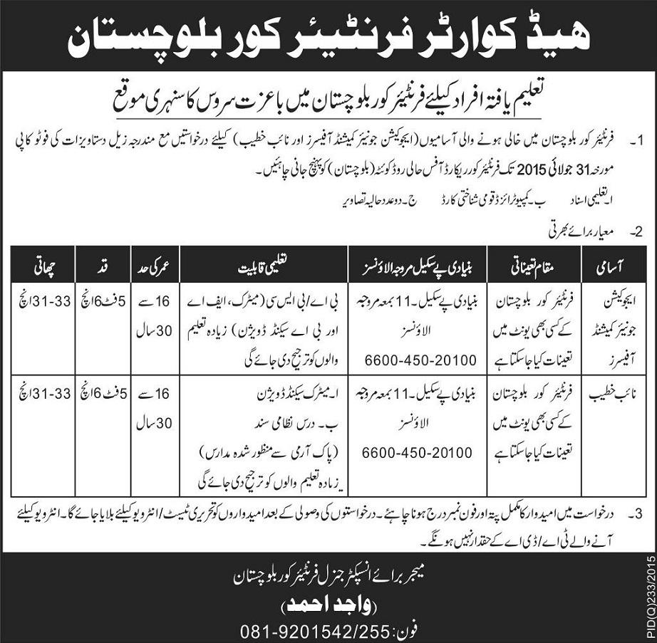 Jobs in Frontier Corps Balochistan