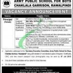 Jobs in Army Public School Rawalpindi