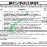 Directorate General Health Services Sindh Hyderabad Jobs