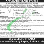 Govt Teaching Hospital Shahdara Jobs