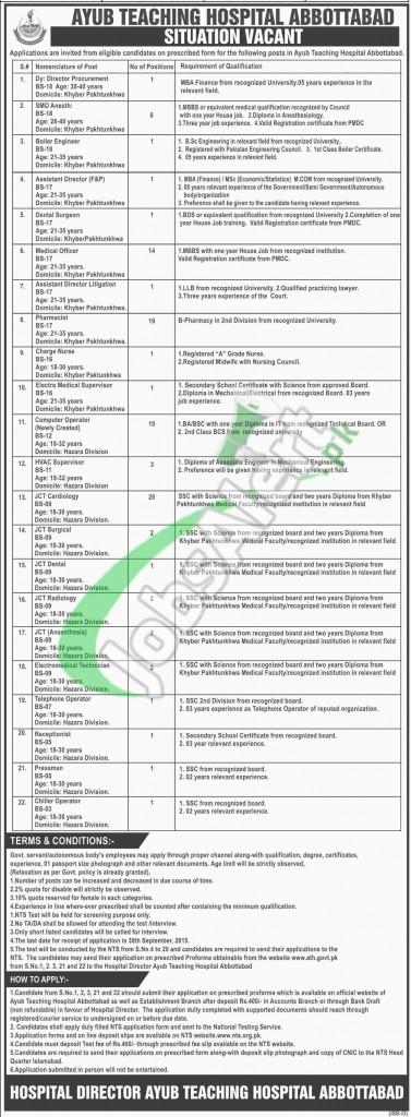 Ayub Teaching Hospital Jobs 2015 Nts Application Form