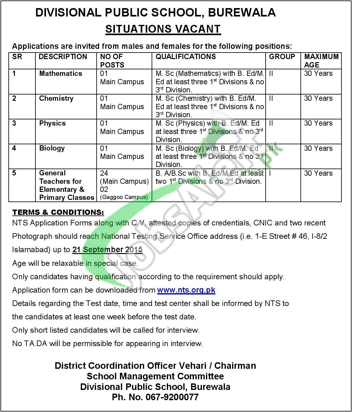 DPS Burewala NTS Jobs September 2015 Application Form Divisional ...
