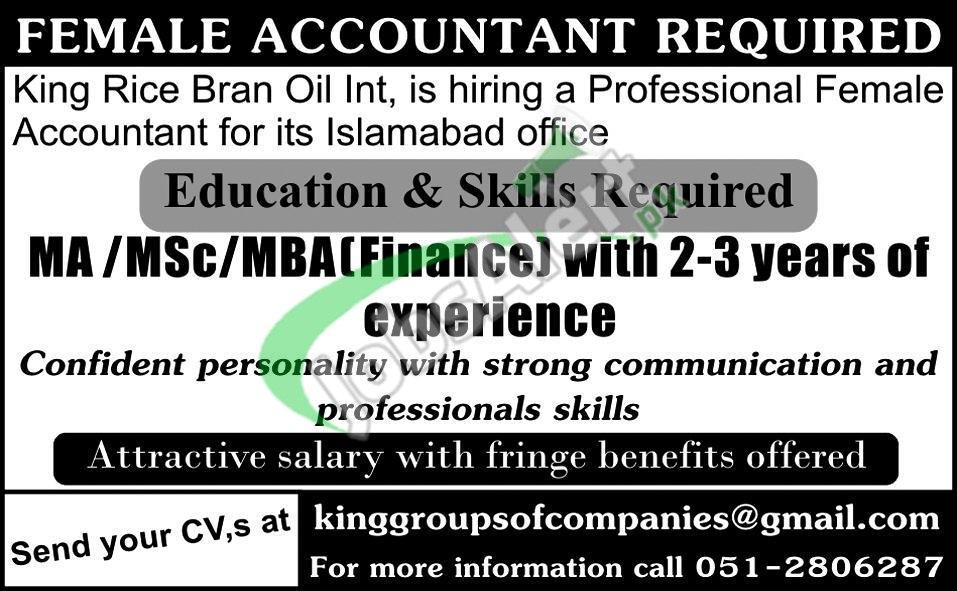 King Rice Bran Oil Pakistan Jobs