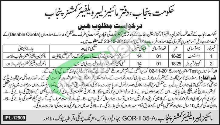 Mines Labour Welfare Department Punjab Jobs