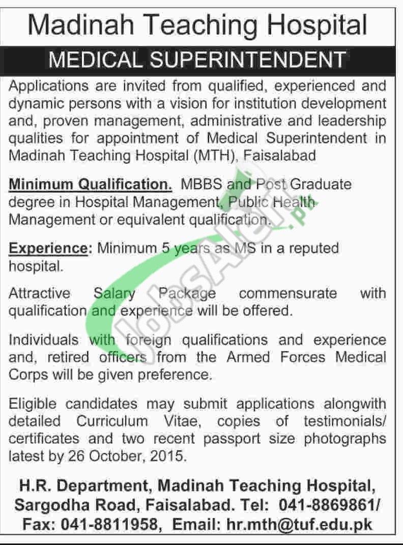 Madina Teaching Hospital Faisalabad Jobs