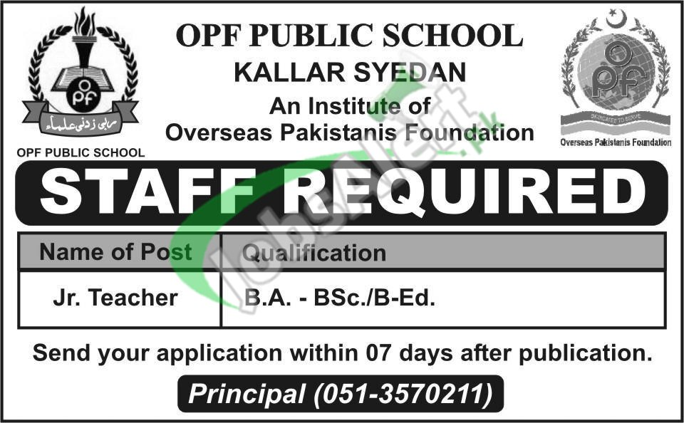 Latest Jobs in OPF School