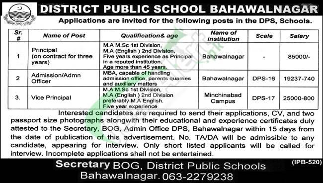 DPS Bahawalnagar Jobs