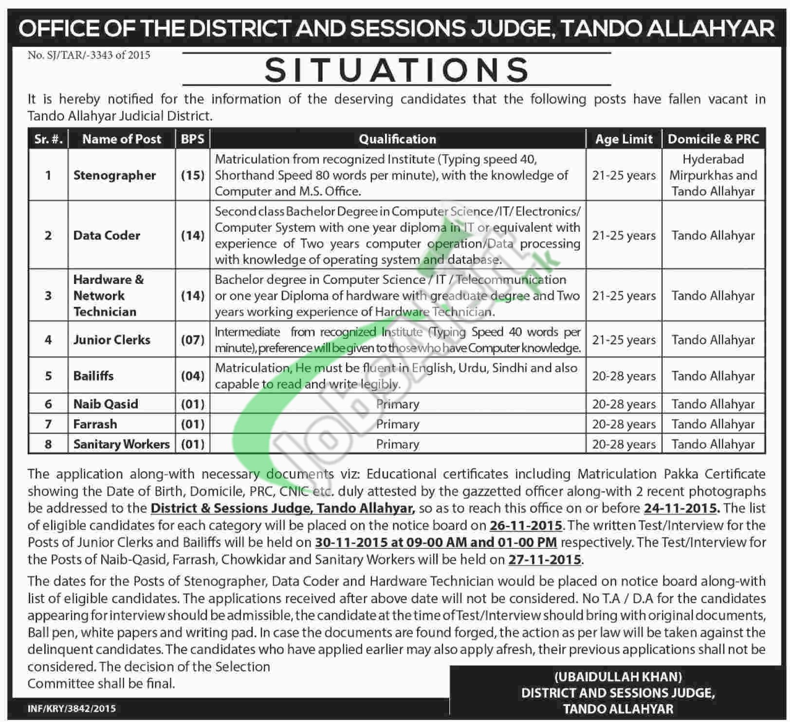 District & Session Court Tando Allahyar Jobs