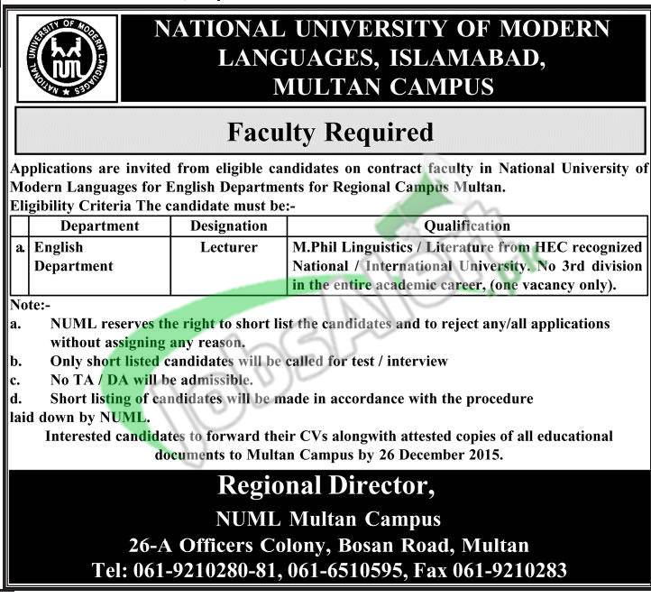 National University Of Modern languages Multan Jobs Jobs