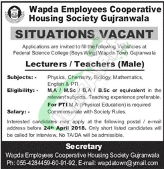 Federal Science College WAPDA Town Gujranwala Jobs