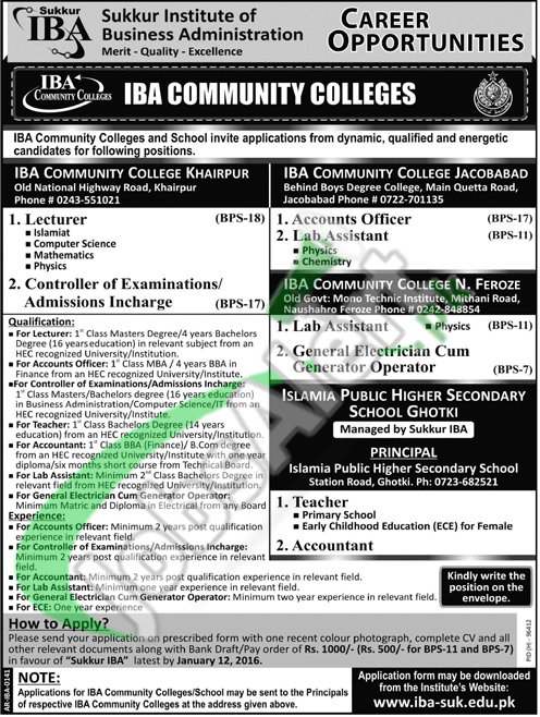 Recruitment for the Post of Controller and Lecturer by IBA Community College Sukkur