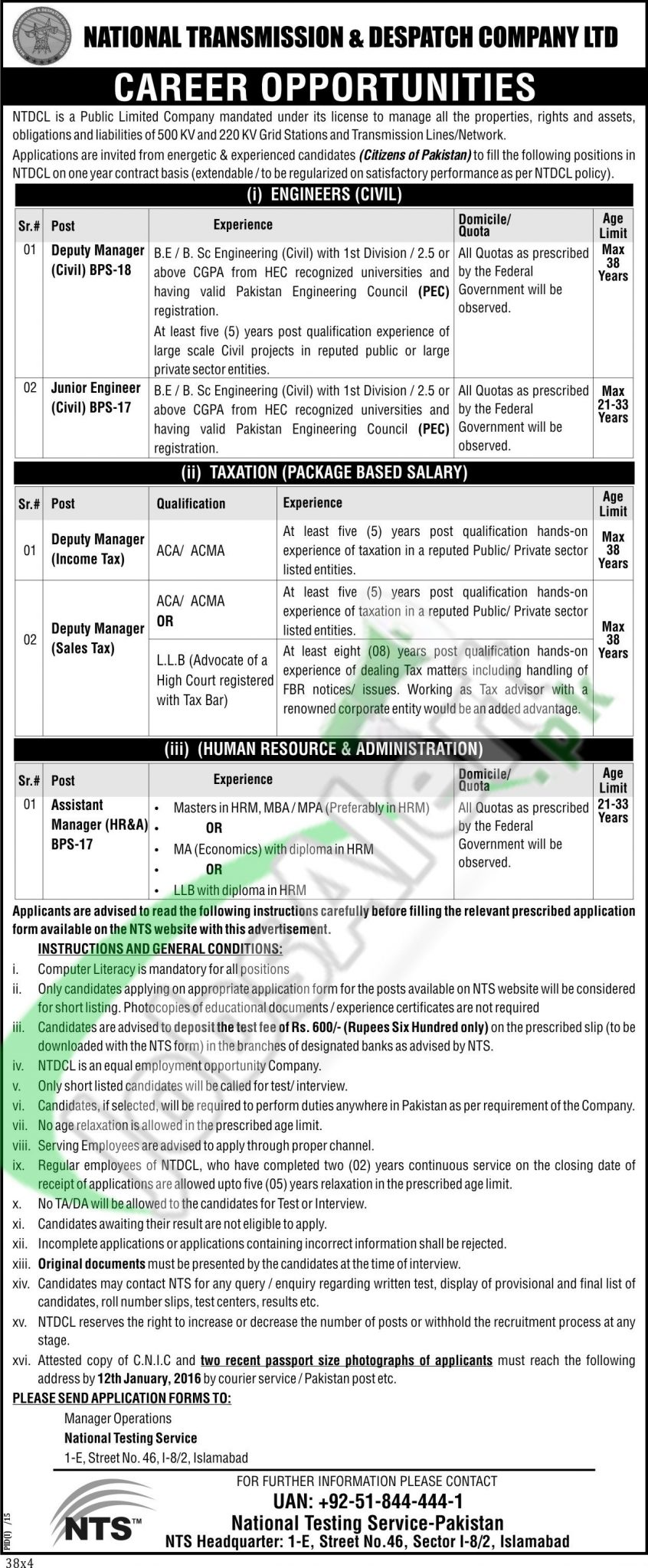 Employment Opportunities in Natinal Transmission and Despatch Company Limited