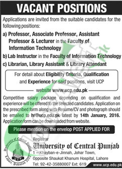 Career Opportunities in University of Central Punjab