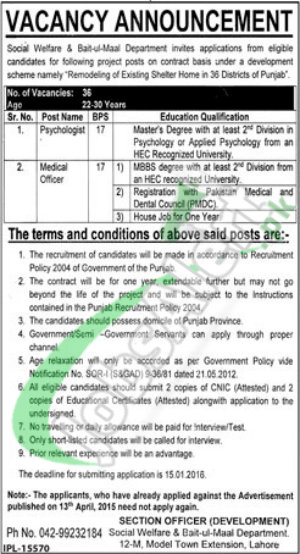 Exciting Career Opportunities in Punjab Social Welfare & Bait-ul-Maal Department for Medical Officer