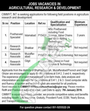 Recruitment Offers for Research Associate and Development in Agriculture Department Islamabad