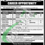 Recruitment Offers in CMH Lahore Medical College &Institute of Dentistry Lahore Cantt
