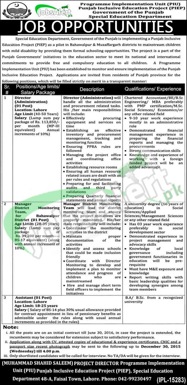 Special Education Department Punjab Jobs 2015 / 2016