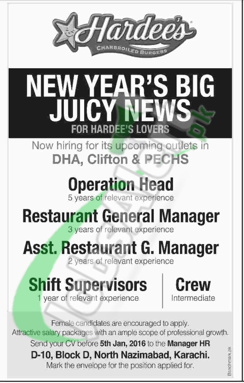Career Opportunities in Hardees Fast Food Restaurant Karachi