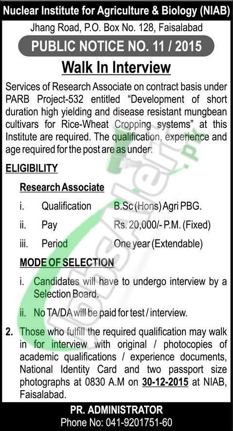 Walkin Interviews in Nuclear Institute for Agriculture & Biology