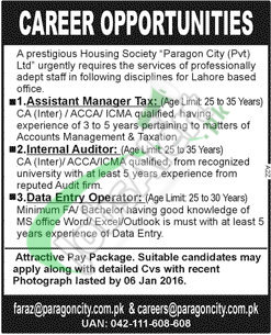 Recruitment offers in Paragon Housing Society Ltd Lahore for Assistant Manager 2016