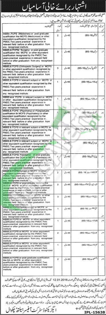 Recruitment Offers in Health Department Government of Punjab Chakwal 2016