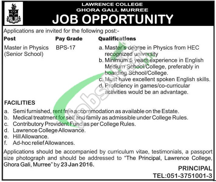 Lawrence College Murree Jobs