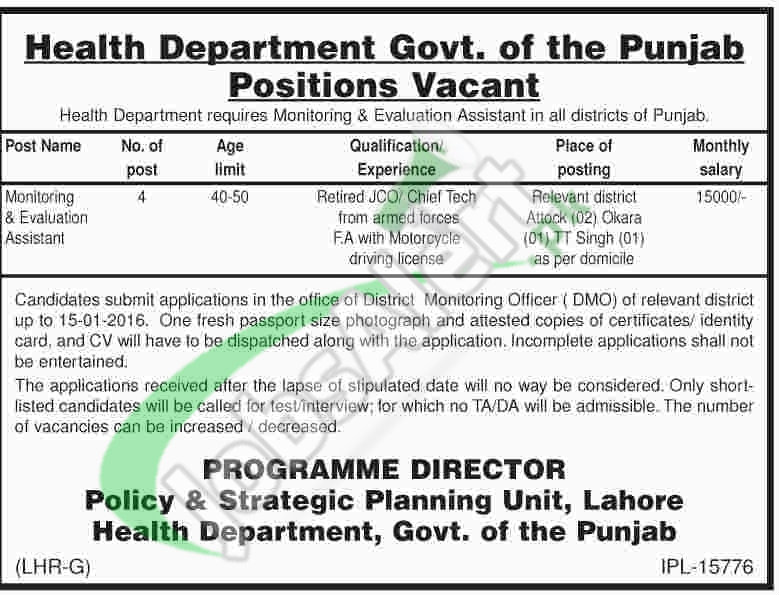 Health Deaprtment Jobs Government of Punjab 2016