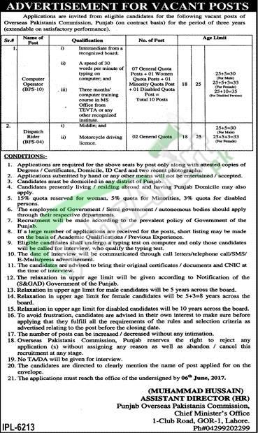 Overseas Pakistani Commission Jobs