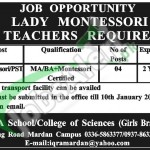 Vacancy in Iqra School and College of Sciences for Lady Montessori Teacher 2016