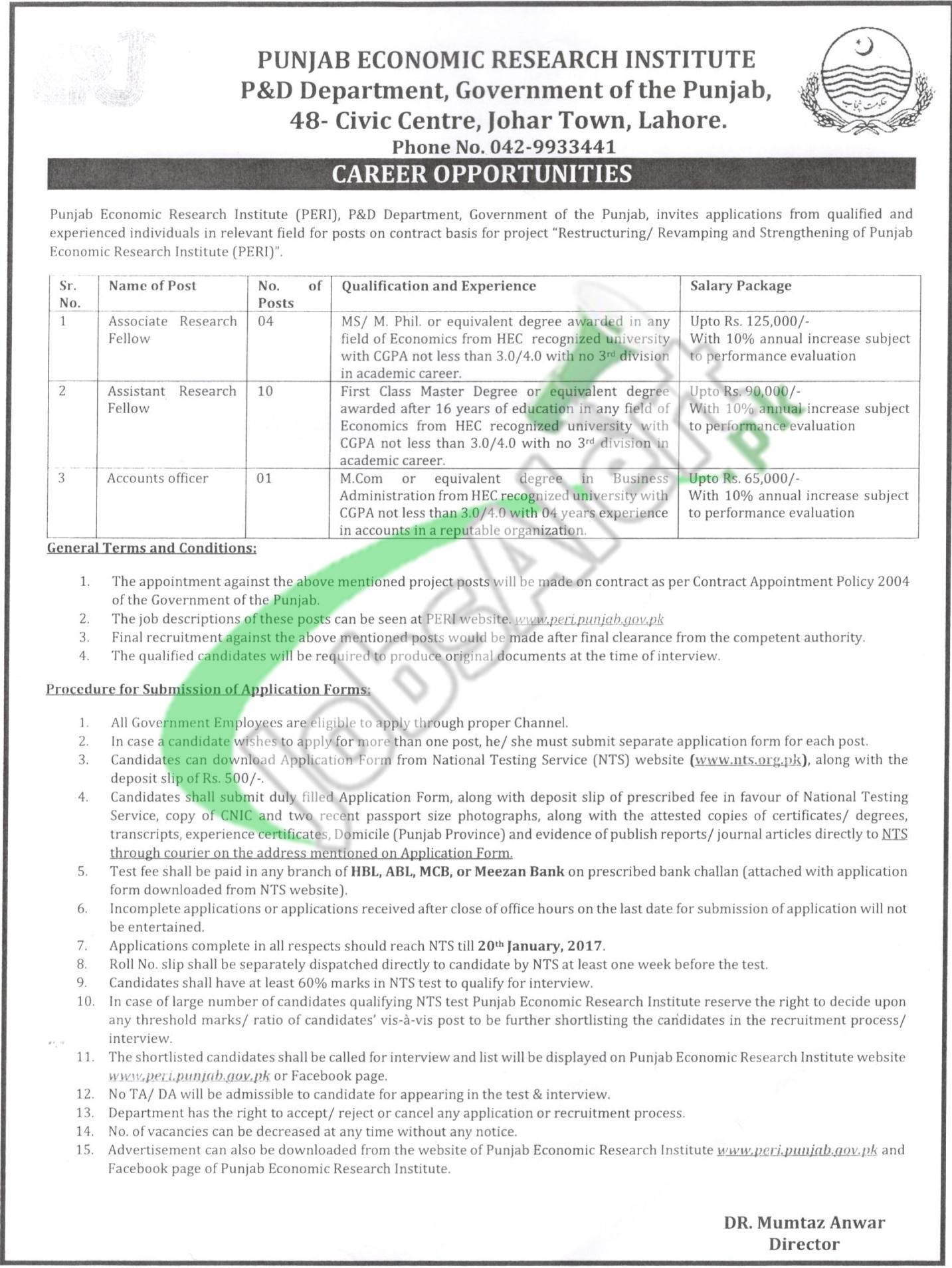 Punjab Economic Research Institute Lahore Jobs