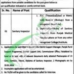 Punjab Rural Support Program Job for Sanitary Inspector 2016