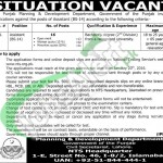 Recruitment Opportunities in Planning and Development Department Govt of Punajb 2016