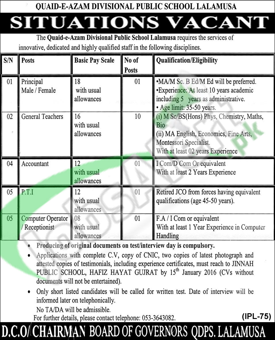 Teaching &Non- Teaching Jobs in Quaid-e- Azam DPS School 2016 | Jobs ...