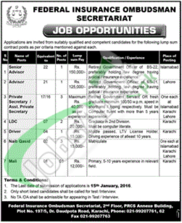 Recruitment Opportunities in Federal Insurance Ombudsman Secretariat Pakistan 2016